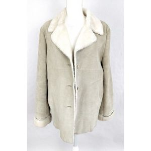 Marvin Richards Suede Leather Faux Fur Coat Large